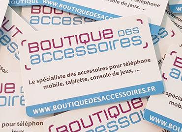 Cartes de visite boutique des accessoires ecommerce montpellier
