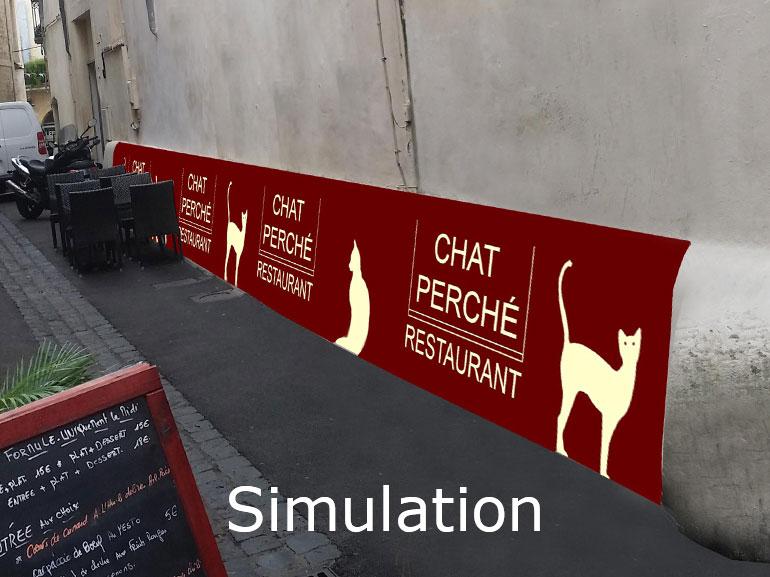 Bâche extérieur restaurant chat perché Montpellier 3