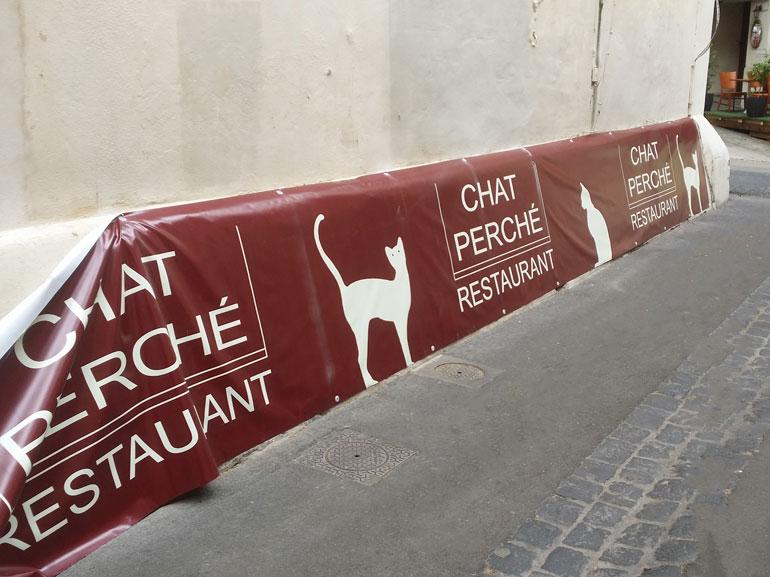 Bâche extérieur restaurant chat perché Montpellier