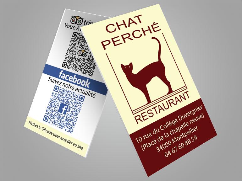 cartes de visite restaurant chat perche montpellier 1