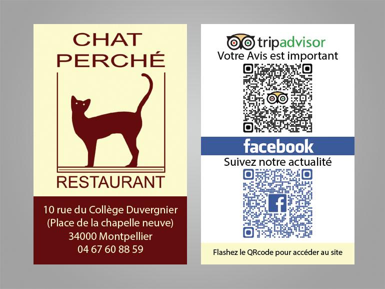 cartes de visite restaurant chat perche montpellier 2
