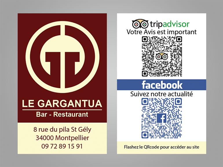 cartes de visite restaurant gargantua montpellier 2