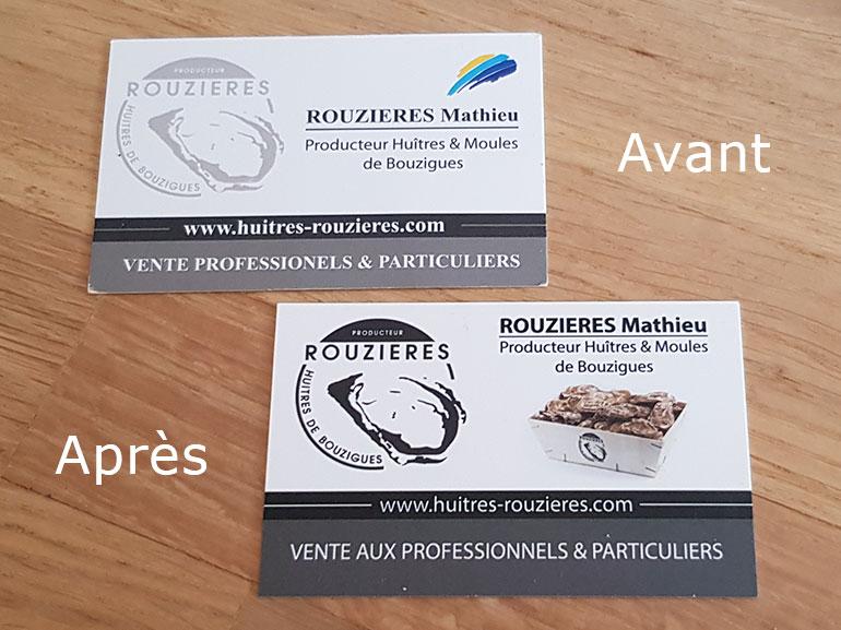 cartes de visite huîtres Rouzières bouzigues 4